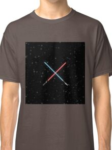 Star Wars Crossed Lightsabers Space pattern Classic T-Shirt
