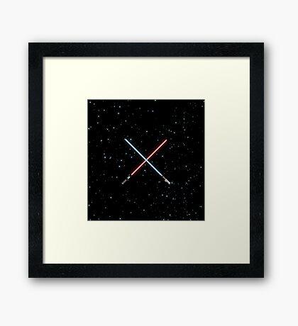 Star Wars Crossed Lightsabers Space pattern Framed Print