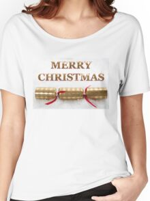 Merry Christmas Cracker in Snow Message Women's Relaxed Fit T-Shirt