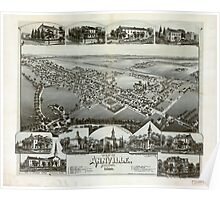 Panoramic Maps View of Annville Pennsylvania 1888 Poster