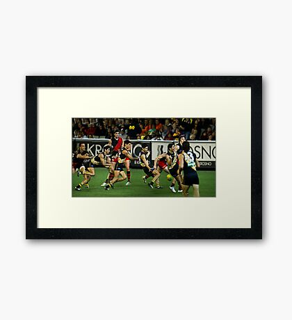 Celebrating a Goal Framed Print