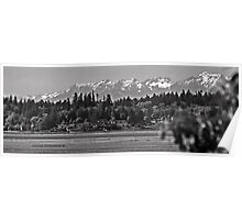 Olympic Mountains (B&W) Poster