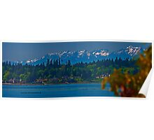 Olympic Mountains (colour img) Poster