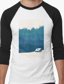 nordic ski winter wonderland scene Men's Baseball ¾ T-Shirt