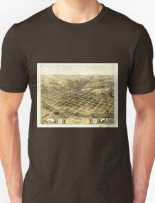 Panoramic Maps Bird's eye view of the city of Council Bluffs Pottawattamie Co Iowa 1868 T-Shirt
