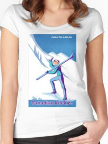 Retro Canadian Rockies Ski poster Women's Fitted Scoop T-Shirt