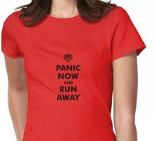 Panic Now & Run Away Womens Fitted T-Shirt