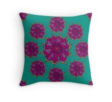 Moroccan Moonflower - Turquoise Throw Pillow