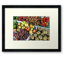 Variation of tropical fruits on stall at market Framed Print