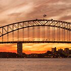 Sydney icon on the harbour at sunset by KeithMcInnes
