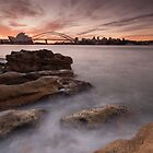 Sydney Harbour rocks at dusk by KeithMcInnes