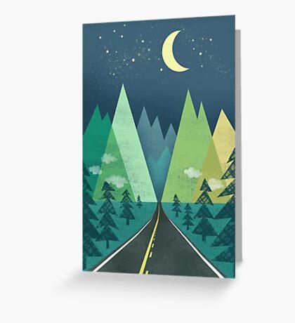 the Long Road at Night Greeting Card