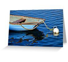 Little Blue Skiff ~ Lyme Regis Harbour Greeting Card