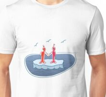 Two standing on a flake of ice, holding hands. Unisex T-Shirt
