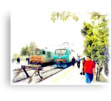 Albano Laziale railway station: trains Canvas Print