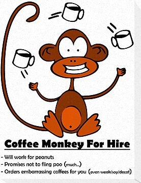 Coffee Monkey For Hire - Sticker by fridley