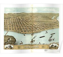 Panoramic Maps Bird's eye view of the city of Rock Island Rock Island County Illinois 1869 Poster