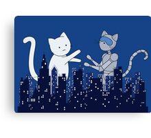 Giant Kitten vs MechaCat Canvas Print