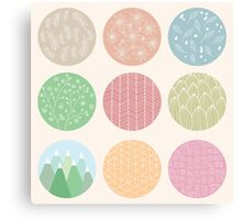 Colorful circles with flower and line patterns Canvas Print