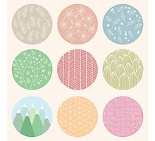 Colorful circles with flower and line patterns Photographic Print