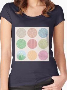 Colorful circles with flower and line patterns Women's Fitted Scoop T-Shirt
