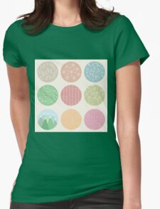 Colorful circles with flower and line patterns Womens Fitted T-Shirt