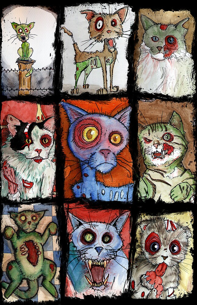9 zombie cats by byronrempel