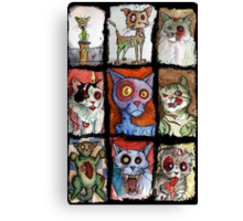 9 zombie cats Canvas Print
