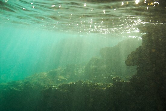 Sunrays penetrating underwater cave near surface by Sami Sarkis