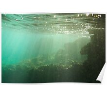 Sunrays penetrating underwater cave near surface Poster