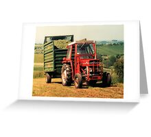 Massey Ferguson Tractor and Trailer Greeting Card