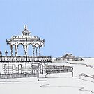 Brighton Bandstand & Pier ( Pale Blue ) by Adam Regester