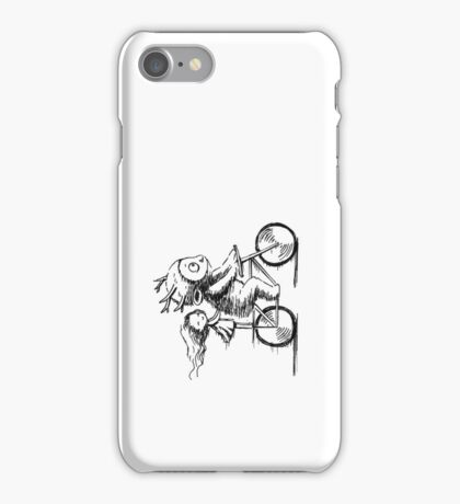 Girl and a monster on a bike iPhone Case/Skin