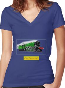 Steam Locomotive - The Flying Scotsman 1923 Women's Fitted V-Neck T-Shirt