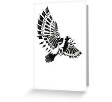 Raven Crow Shaman tribal tattoo design Greeting Card