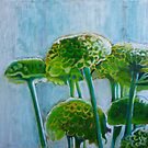 Green mums, mixed media on canvas by Sandrine Pelissier