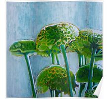 Green mums, mixed media on canvas Poster
