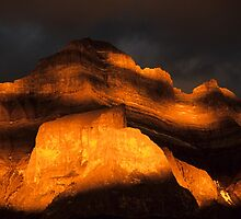 The Face Of  Mount Rundle by Bob Christopher