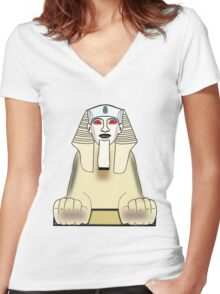 The Sphinx at Gaza, Egypt Women's Fitted V-Neck T-Shirt