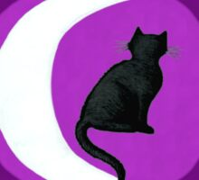 The Cat in the Moon (black) Sticker