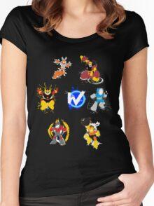 Robot Masters of Mega Man 1 Splatter Art Women's Fitted Scoop T-Shirt