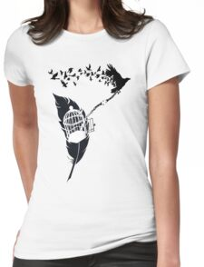 Vintage print with Edgar Alan Poe Poem and Raven Silhouette: Break Free  Womens Fitted T-Shirt
