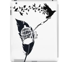 Vintage print with Edgar Alan Poe Poem and Raven Silhouette: Break Free  iPad Case/Skin
