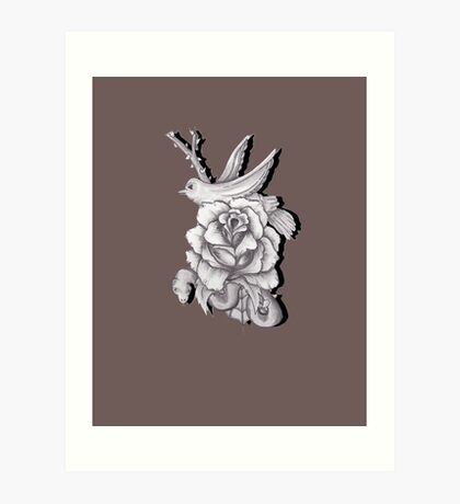 Rose With Bird And Snake Art Print