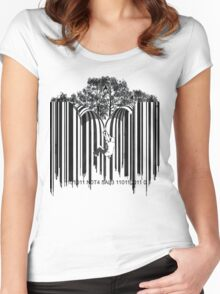 UNZIP THE CODE barcode graffiti print illustration Women's Fitted Scoop T-Shirt