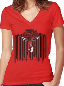UNZIP THE CODE barcode graffiti print illustration Women's Fitted V-Neck T-Shirt
