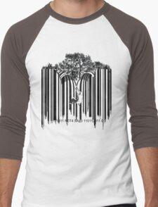 UNZIP THE CODE barcode graffiti print illustration Men's Baseball ¾ T-Shirt
