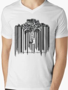 UNZIP THE CODE barcode graffiti print illustration Mens V-Neck T-Shirt