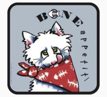 "Cat ""Bone Appetit!"" Gourmet Pet Foods Envelope Stickers {Steel Blue} by offleashart"