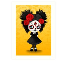 Shy Big Eyes Day of the Dead Girl with Red Roses Art Print